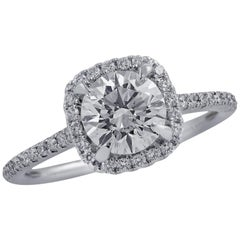 Vivid Diamonds GIA Certified 1.30 Carat Diamond Halo Engagement Ring
