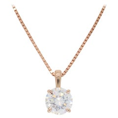 Rose Gold Solitaire Diamond Pendant Necklace