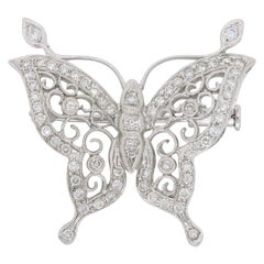 18 Karat White Gold Diamond Butterfly Brooch