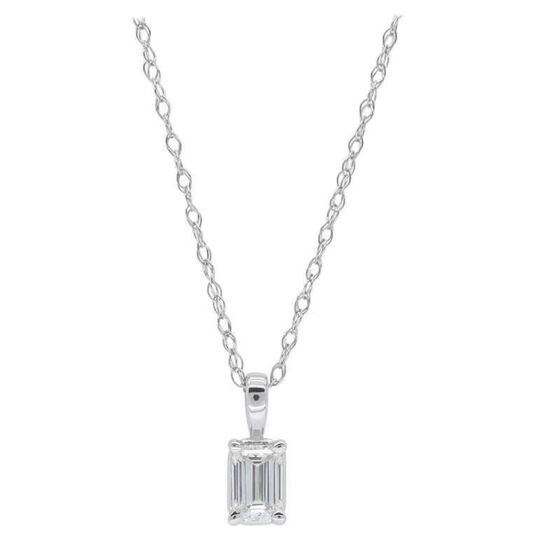Emerald Cut Diamond Solitaire Necklace For Sale At 1stdibs