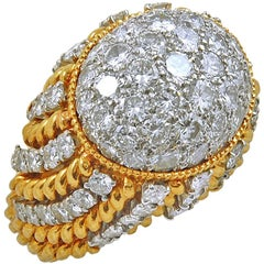 1960s Diamond Dome-Shaped Gold Rope  Ring