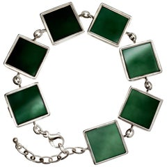 18 Karat White Gold Art Deco Bracelet with Dark Green Quartzes Featured in Vogue