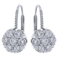 Vivid Diamonds 2.87 Carat Diamond Dangle Earrings