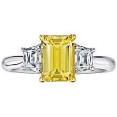 2.05 Carat Emerald Cut Yellow Sapphire and Diamond Ring
