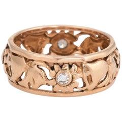 Bell Flower Wedding Eternity Band Ring Vintage 14 Karat Rose Gold Diamond
