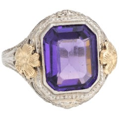 Antique Deco Filigree Ring Amethyst Glass 10 Karat Gold Vintage Fine Jewelry