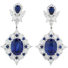 Ceylon Sapphire Dangle Earrings, 10.80 Carat