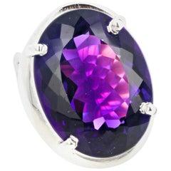 Gemjunky Intense Sparkling Glittering 16.15 Cts Amethyst Sterling Silver Ring