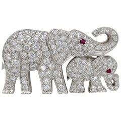 Cartier Diamond Ruby Elephant and Baby Elephant Pin Brooch