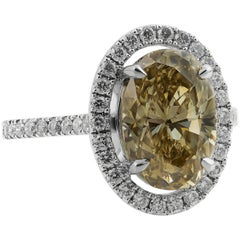 GIA Certified Diamond 4.56ct Natural Fancy Brownish Greenish Yellow Oval Ring
