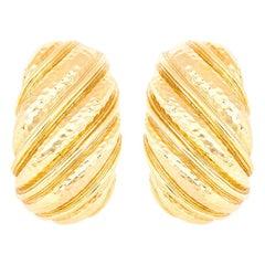 David Webb Hammered Gold Shrimp Earrings