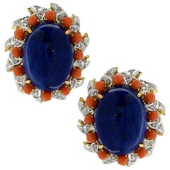 Lapis, Diamond and Coral Clip-On Earrings, circa 1970s