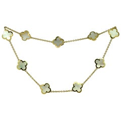 Van Cleef & Arpels Pure Alhambra Mother of Pearl Yellow Gold 9 Motif Necklace
