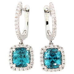 6.47 Carat Blue Zircon and Diamond Earring