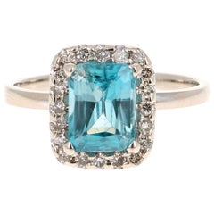 5.14 Carat Blue Zircon Diamond 14 Karat White Gold Ring