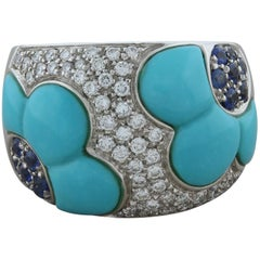 Turquoise Sapphire Diamond Gold Flower Band Ring