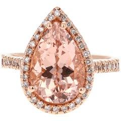 5.09 Carat Pear Cut Morganite Diamond 14 Karat Rose Gold Ring