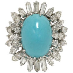 8 Carat Oval Cabochon Persian Turquoise Diamond Dome White Gold Statement Ring