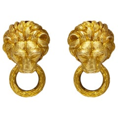 Van Cleef Lion Door Knocker Earrings