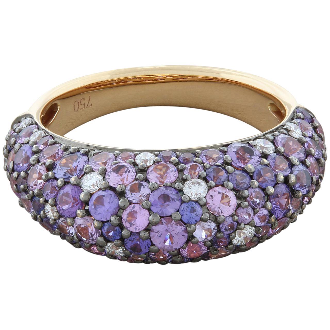 Purple Sapphire Diamond Gold Dome Ring