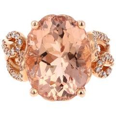 11.44 Carat Oval Cut Morganite Diamond 14 Karat Rose Gold Ring