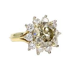 18 Karat 4.01 Carat Total Weight Diamond Vintage Halo Ring