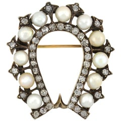 Early Victorian 2.00 Total Carat Diamond and Natural Pearl Horseshoe Pin