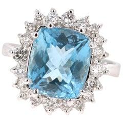 4.89 Carat Aquamarine Diamond 14 Karat White Gold Cocktail Ring