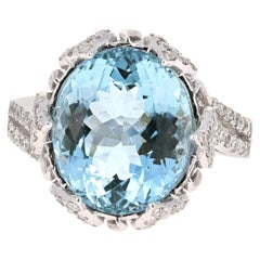 7.50 Carat Aquamarine Diamond 14 Karat White Gold Cocktail Ring
