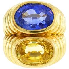 Bulgari Sapphire Yellow Gold Doppio Ring, 1980s