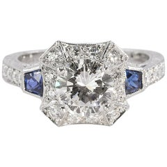 Platinum Ring with GIA Certified 1.41 Carat Round Diamond