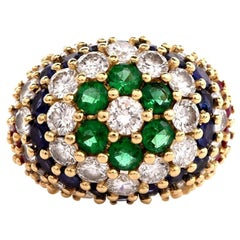 1970s Diamond Emerald Sapphire Ruby Cluster 18 Karat Gold Dome Ring