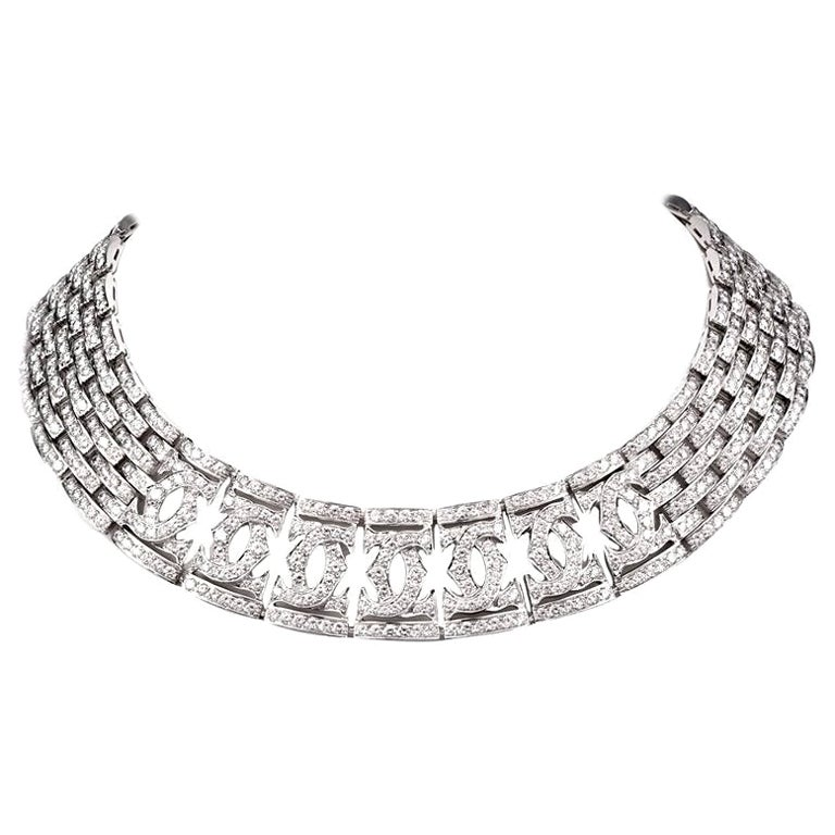 Cartier Diamond Double C 18 Karat White Gold Choker Necklace