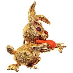 Cartier Paris 18 Karat Gold Ruby Mediterranean Coral Bunny Rabbit Brooch