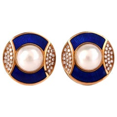 De Vroomen Vintage Pearl Diamond Enamel 18 Karat Gold Clip on Earrings