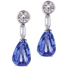 Natural Ceylon Sapphire and Diamond Drop Earrings