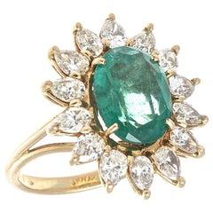Vintage Emerald Diamond Gold Cocktail Ring