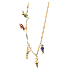 French Platinum 18 Karat Enamel Charm Necklace