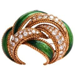 1960s French Green Enamel Diamond 8 Karat Gold Lapel Brooch