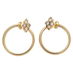 Cartier Diamond Gold Flower Hoop Earrings