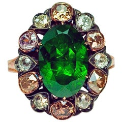 Antique Russian 5 Carat Demantoid Fancy Colored Diamond  Ring