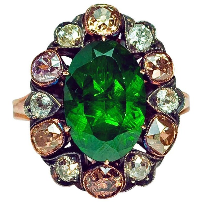 Antique Russian 5 Carat Demantoid Fancy Colored Diamond  Ring For Sale