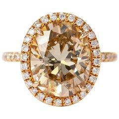 J. Birnbach 5.04 Carat Champagne color Oval Diamond Ring