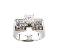 2.00 Carat Diamond Princess Cut Solitaire with Accents White Gold Ring