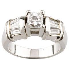 1.35 Carat Princess Cut Diamond Platinum Engagement Ring