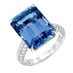 Aquamarine Cocktail Ring Emerald Cut Vivid Blue Diamond Platinum Ring