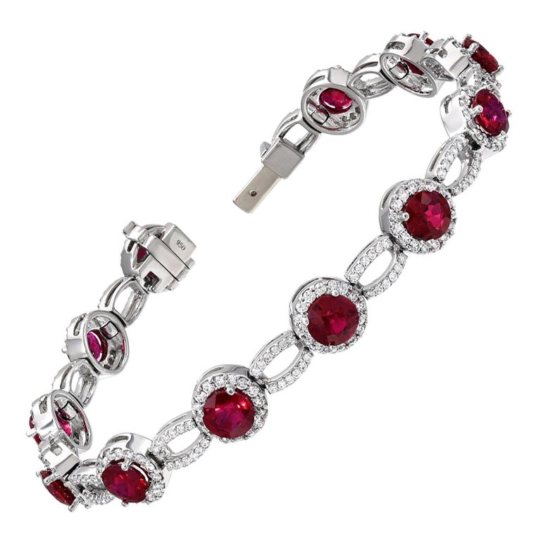Burma Ruby Bracelet 9.18 Carats For Sale