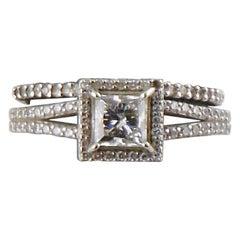 0.72 Carat White Gold Halo Princess Diamond Engagement Ring Set