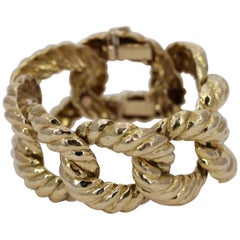 Hammered Open Link Gold Bracelet