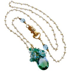 Blue Green Ametrine London Blue Topaz Green Onyx Hand Clasp Cluster Necklace